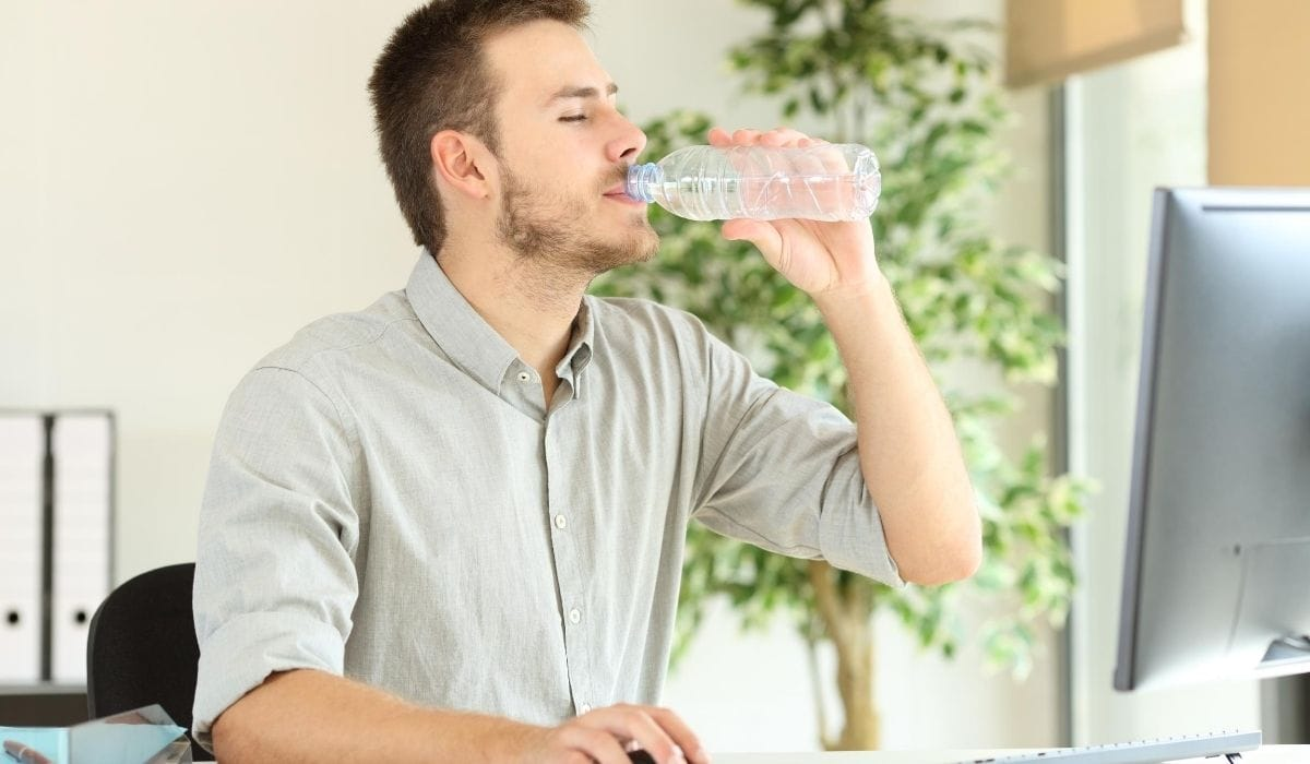 software engineer drinking water
