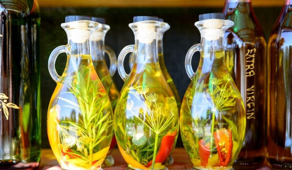 Bottles of infused olive oil