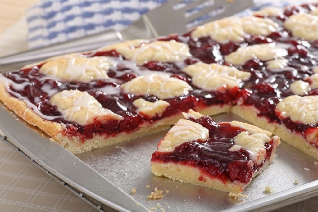 cherry garcia bars on a baking tray